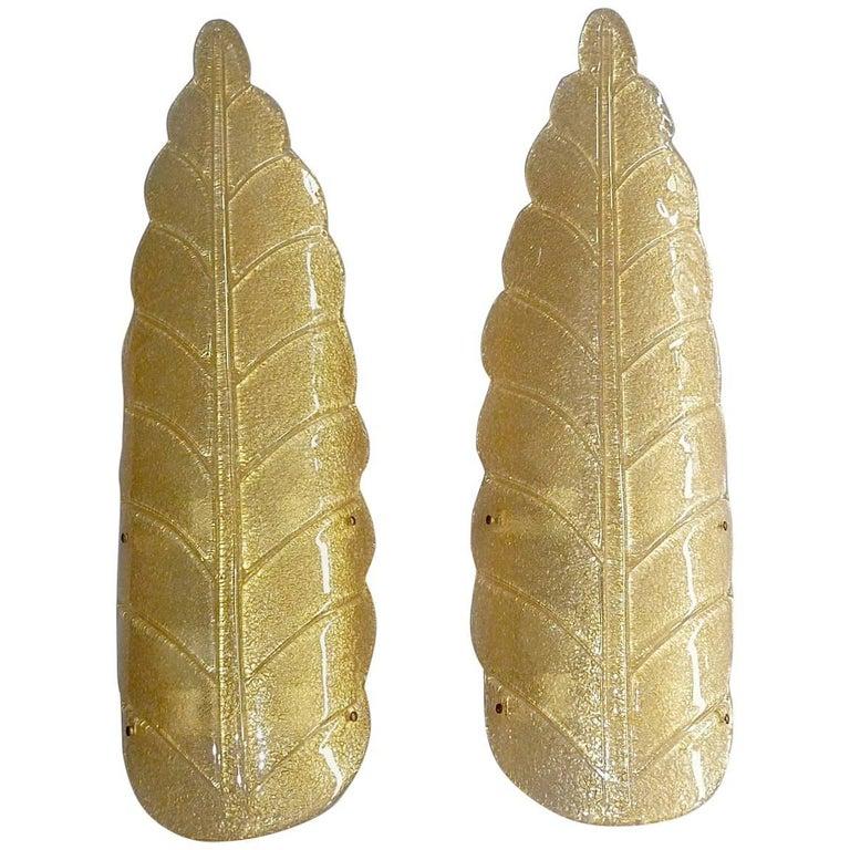 Monumental Pair of Murano Art Glass Golden Leaf Sconces Lights Barovier, 1970s