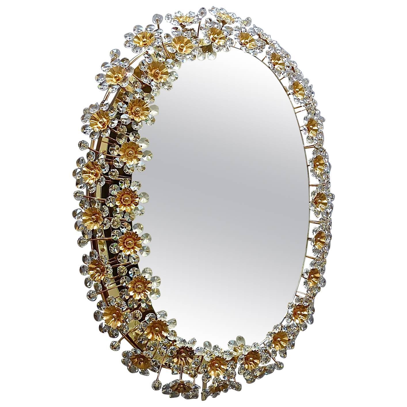Large Palwa Backlit Mirror Oval Gilt Faceted Crystal Glass Flower 1970s