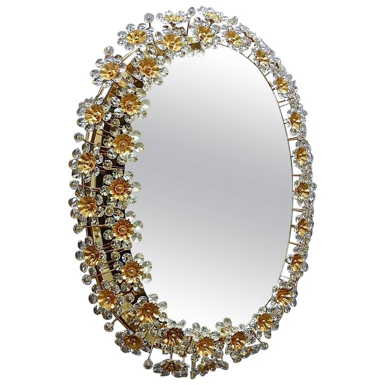 Large Oval Gilt Faceted Crystal Glass Flower Backlit Mirror by Palwa, 1970s