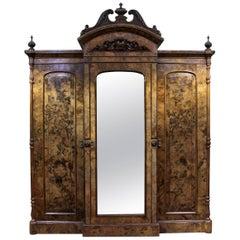 Antique 19th Century Victorian Breakfront Walnut Wardrobe Armoire, circa 1850
