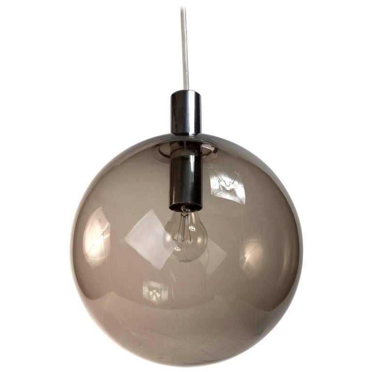 Smoked Glass Ball Fixture Attributed to Lightolier