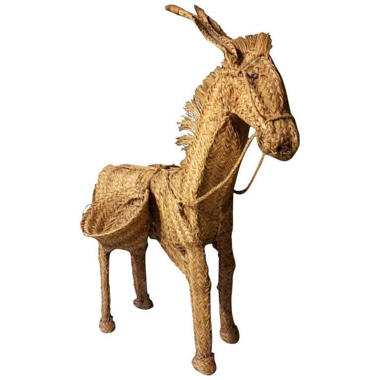 20th Century French Folk Art Donkey Made of Palm Frond, 1960s
