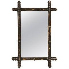 Black Faux Bamboo Mirror