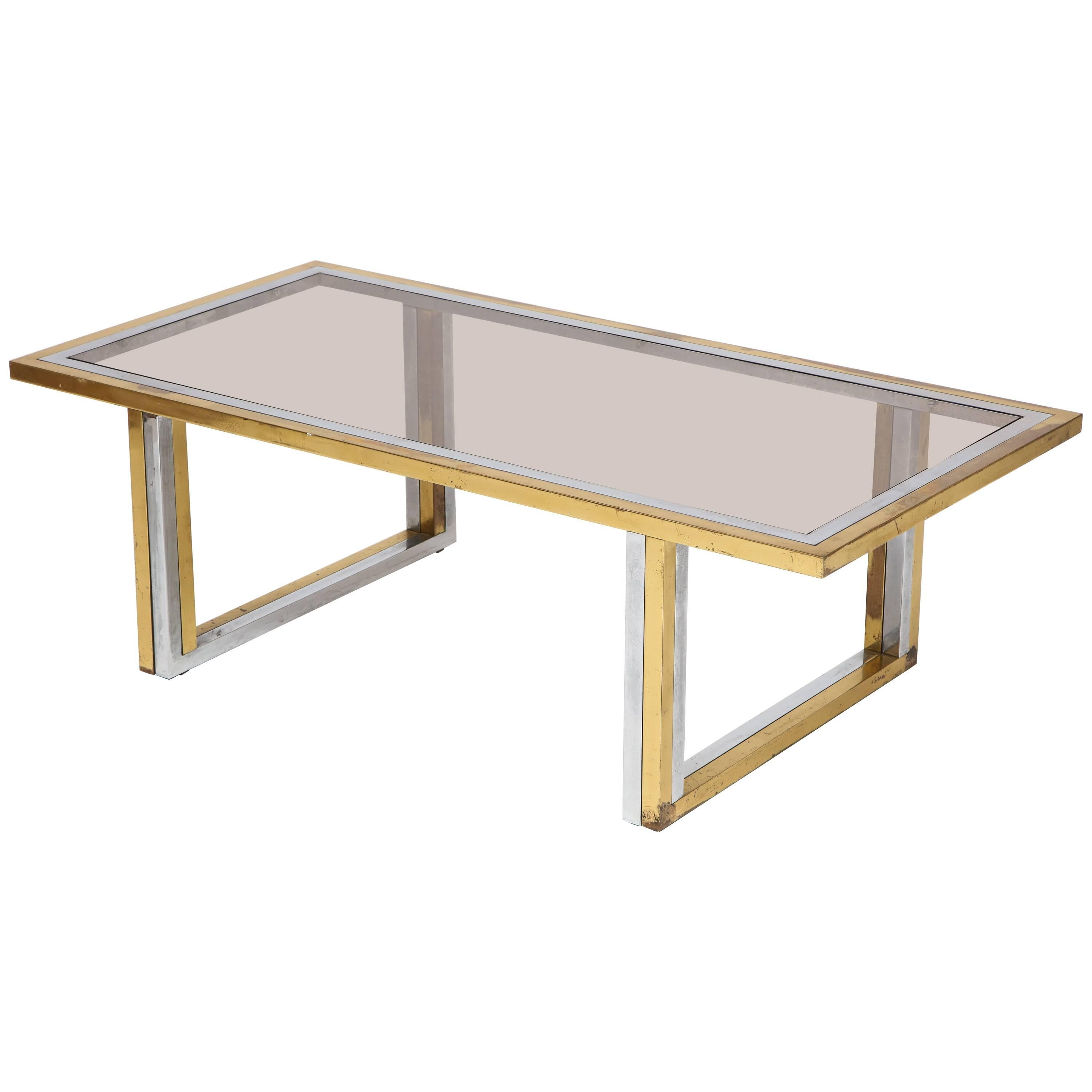 Romeo Rega Brass and Chrome Coffee Table, 1970s, Italy
