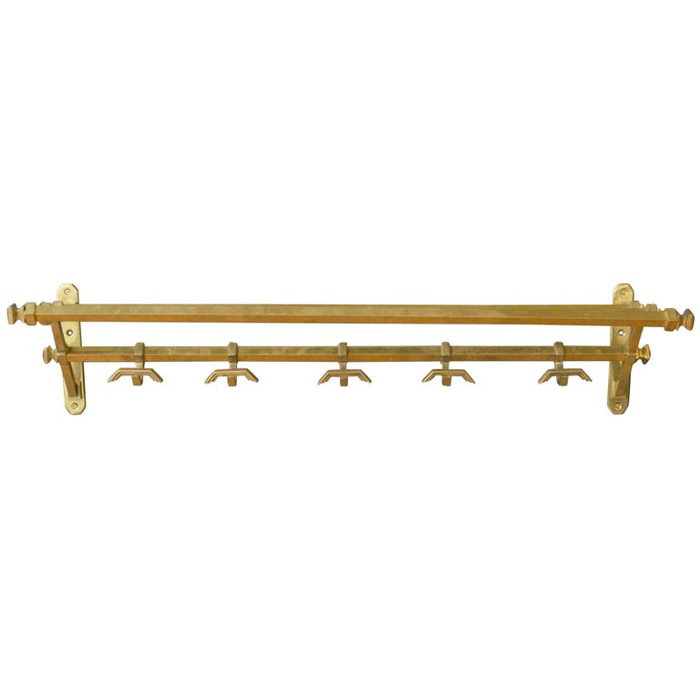 French Art Deco Brass Coat Rack