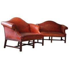 Pair of Early to Mid-20th Century English Humpback Leather Sofas