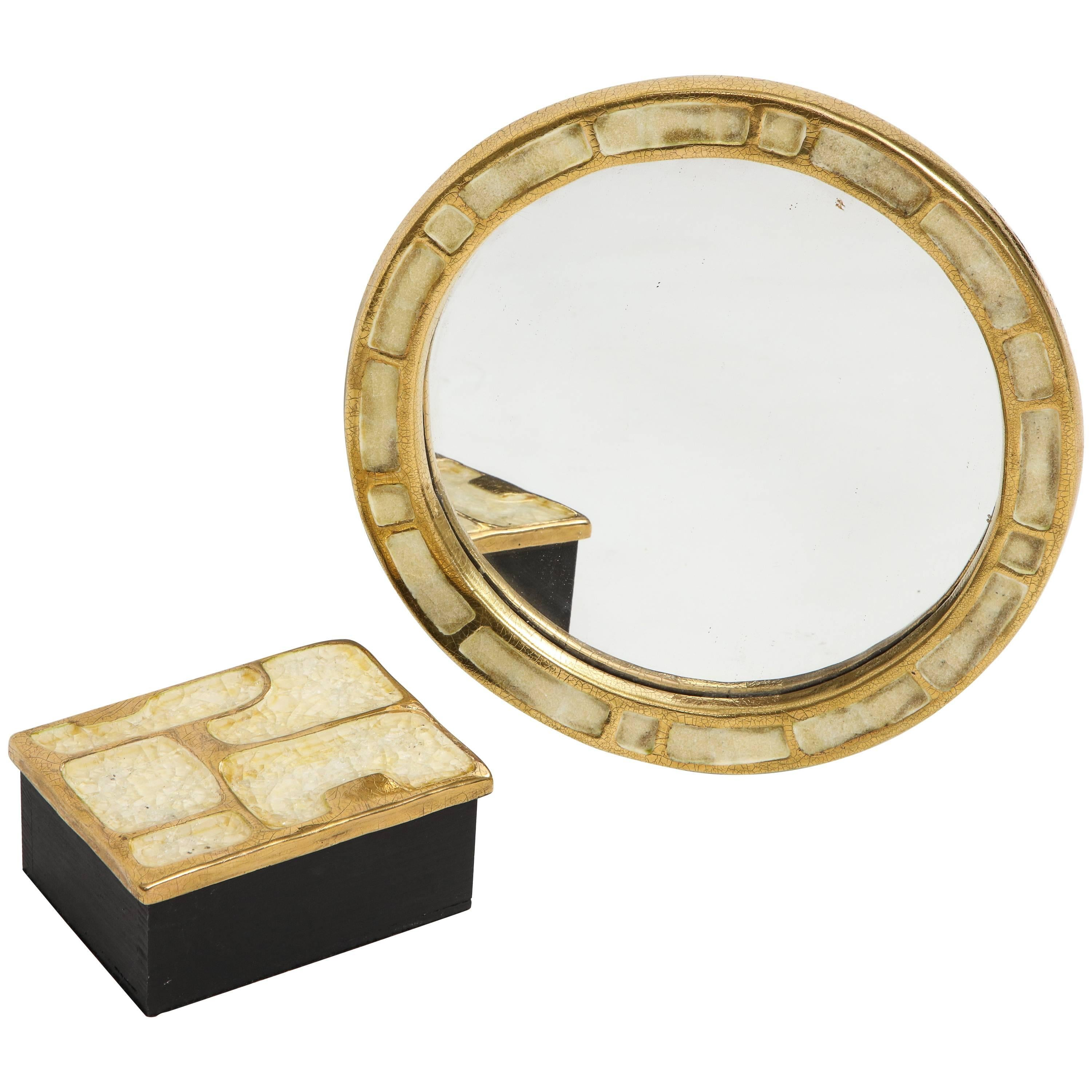Mithé Espelt Ceramic Gold Enamel Mirror and Box, France, 1960s