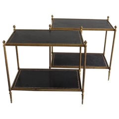 Fine Pair of 1940s Brass and Leather Occasional Tables