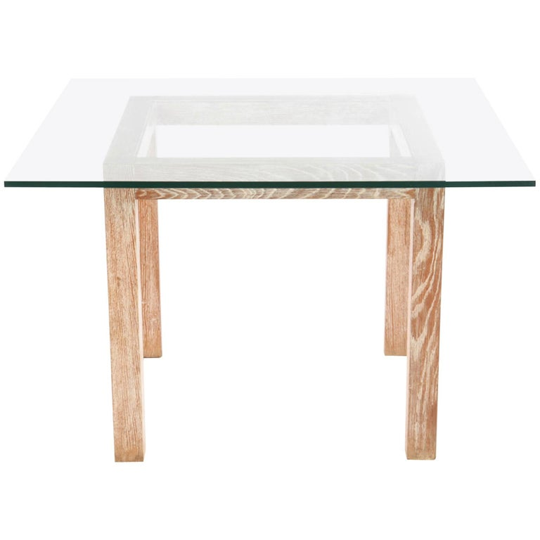 Cerused Oak Parsons Dining Table, 1970
