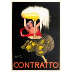 Large Original Iconic Champagne Glass Design Poster for Contratto Sparkling Wine