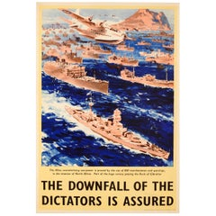 Original WWII Downfall of the Dictators Poster - North Africa Rock of Gibraltar