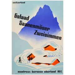 Original Vintage MOB Swiss Railway Winter Sport and Skiing Poster for Gstaad