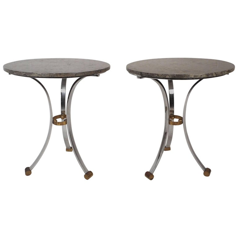 Pair of Mid-Century Modern End Tables with a Marble Top