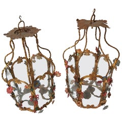 18th Century Italian Tole Painted Lanterns