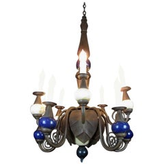 Antique Rustic Wrought Iron and Ostrich Eggshell Two-Tier Ten-Light Chandelier