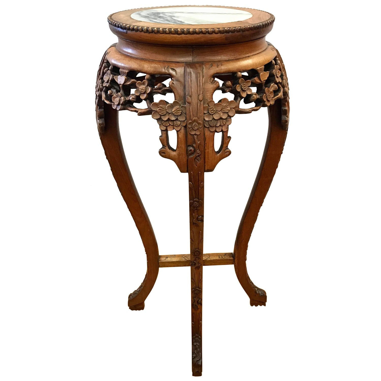 Carved Fruitwood Chinese Stand with Marble Top