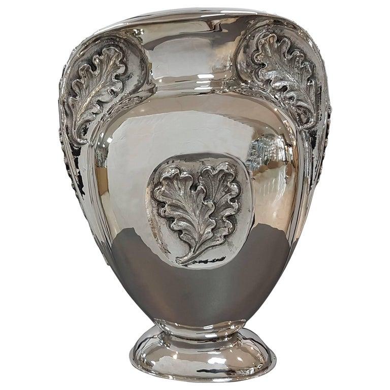 20th Century Italian Sterling Silver Oval Vase Oak leaves