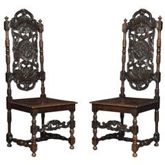 Pair of Victorian Jacobean Revival Carved Oak Side Chairs
