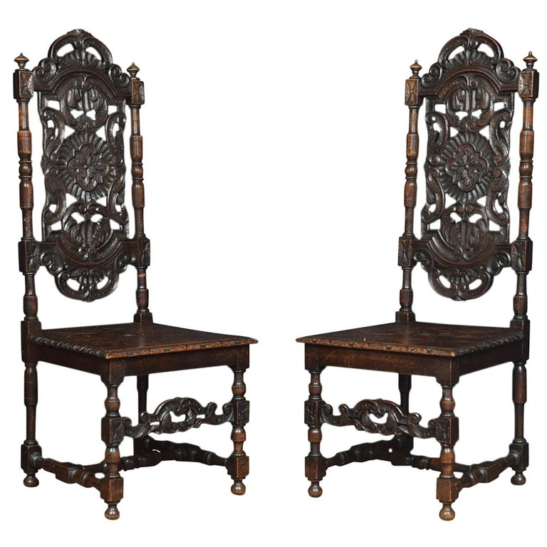 Pair Of Victorian Jacobean Revival Carved Oak Side Chairs For