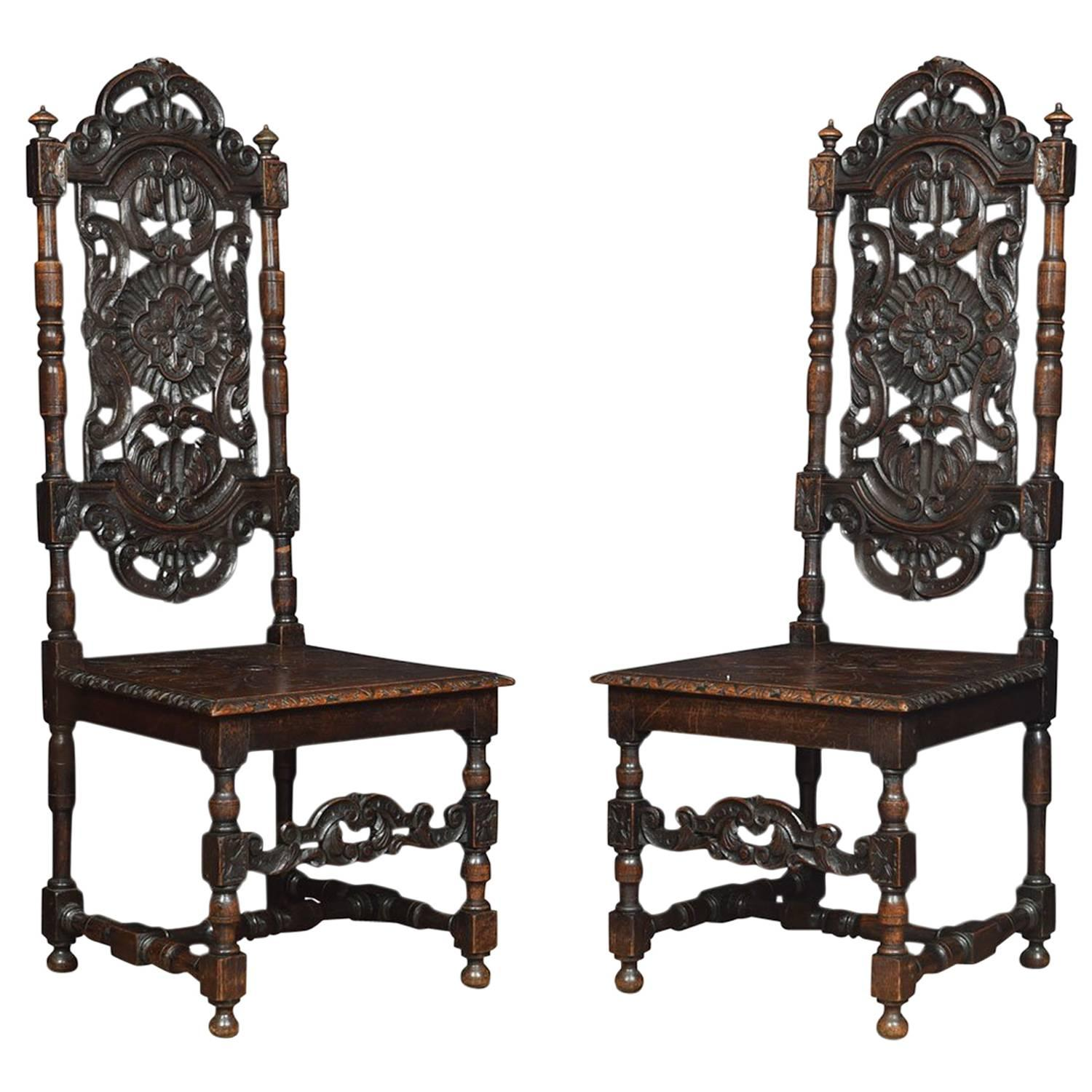 High Quality Pair Of Victorian Jacobean Revival Carved Oak Side Chairs