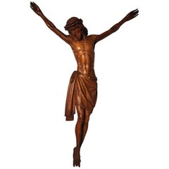 Early 1900s Finest Handcarved Wood Corpus of Christ Sculpture for Wall Mounting