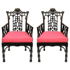 Pair of Chinese Style Chippendale Chairs