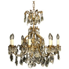 Italian Gilded Bronze and Crystal Eight-Light Antique Chandelier