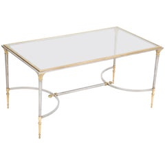 Maison Charles Steel and Gilt Bronze Coffee Table in the Maison Jansen Taste