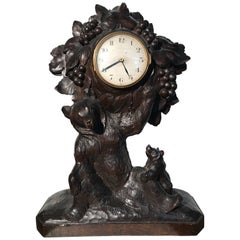 Sizable Antique & Hand-Carved Black Forest Wooden Adult Bear and Cub Table Clock