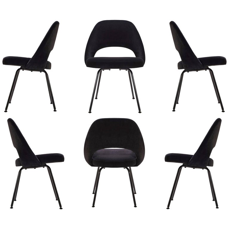 Saarinen Executive Armless Chairs, Black Edition, Set of Six
