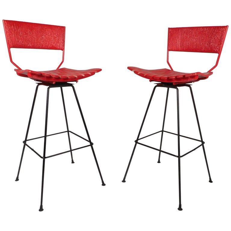 Beautiful Pair of Mid-Century Modern Bar Stools by Arthur Umanoff