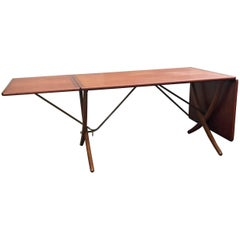Hans Wegner AT-309 Teak and Oak Drop-Leaf Dining Table by Andreas Tuck