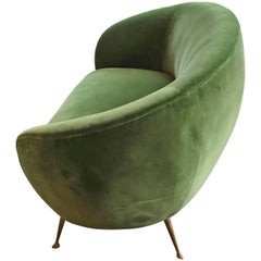 1950s Italian Curved Ends Sofa Reupholstered in a Green Velour
