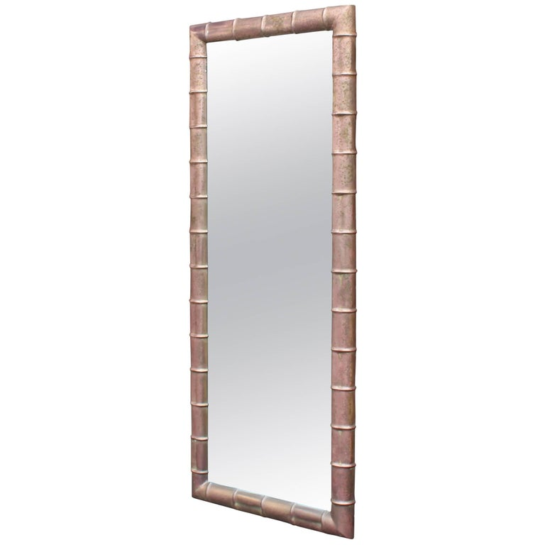 Faux Bamboo Weathered Copper Rectangular Mirror, Mid-Century Modern