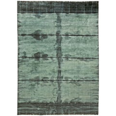 over Dyed Rug, Green Stripe Dye Rug