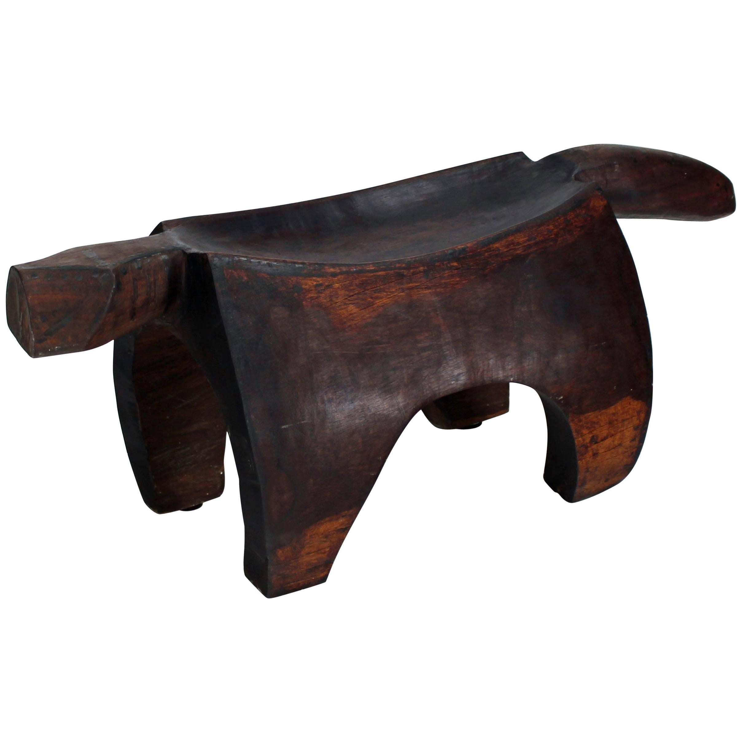 Folk Art Heavy Carved Log Bench Rhinoceros Sculpture