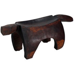 Folk Art Heavy Carved Log Bench Rhinoceros Sculpture