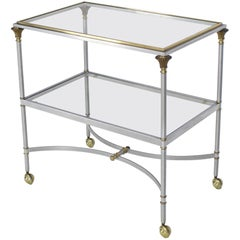Two-Tier Brass Chrome Glass Rectangular Mid-Century Modern Serving Bar Cart
