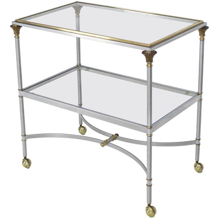 Two-Tier Brass Chrome Glass Rectangular Mid-Century Modern Serving Bar Cart