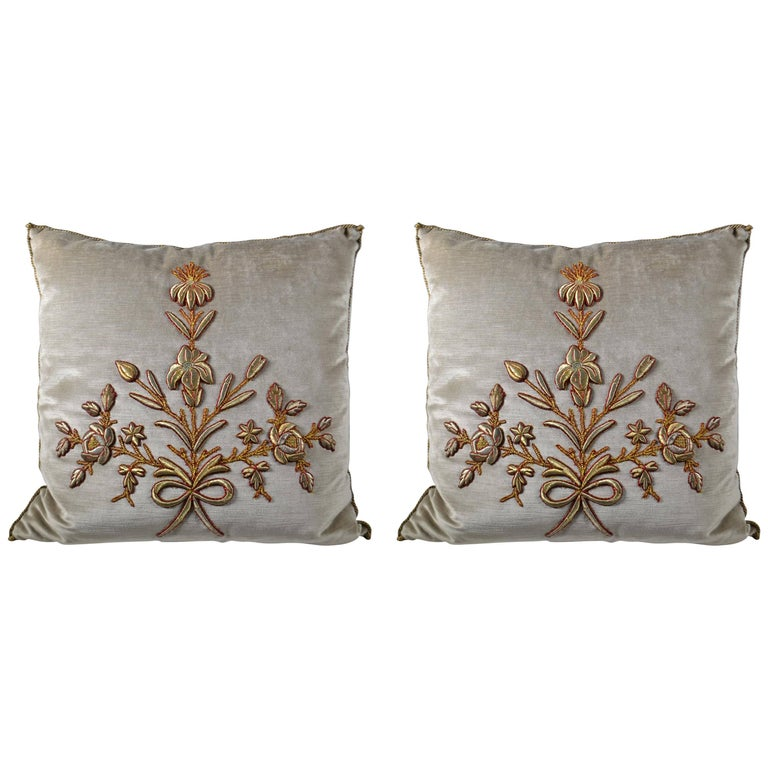Pair of Antique European Metallic Trimmed Down Filled Pillows