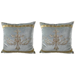 Pair of Antique Ottoman Empire Metallic Trimmed Pillows