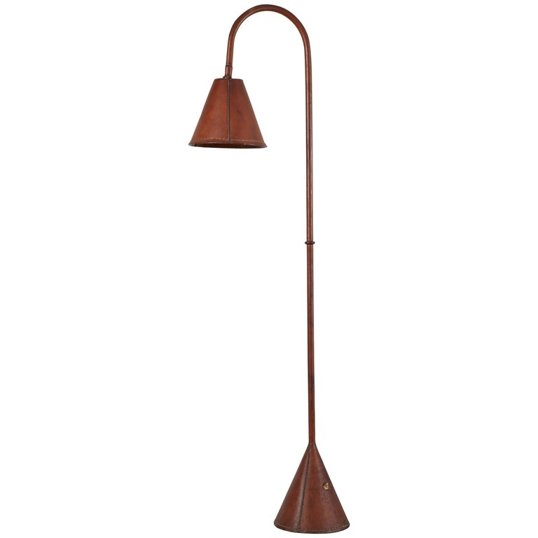 Spanish Leather Wrapped Floor Lamp in the style of Jacques Adnet
