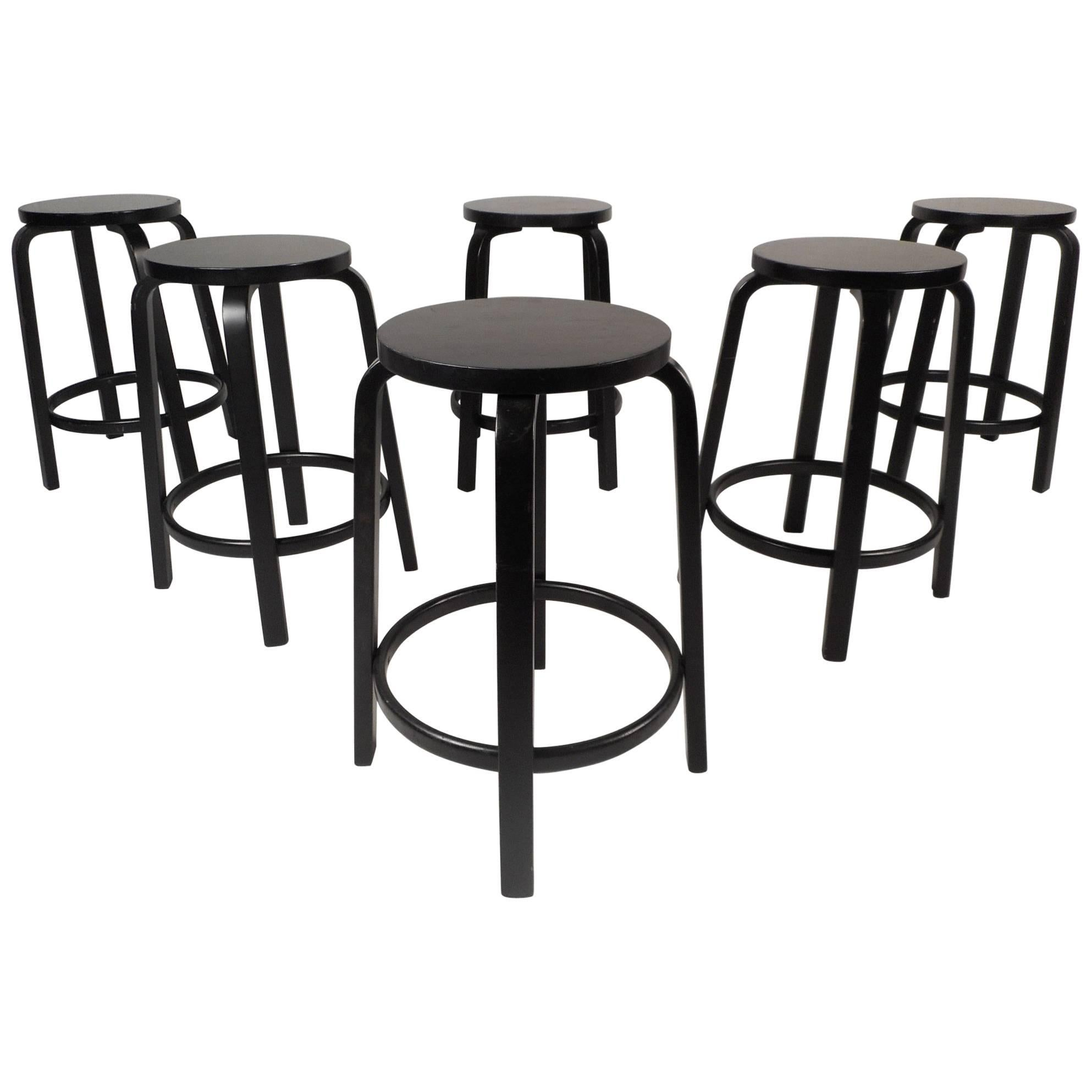 Set of Six Contemporary Modern Alvar Aalto Stools