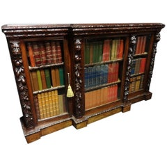 Superb Victorian Walnut and Oak Breakfront Library Bookcase