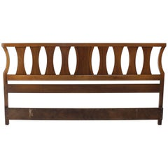 King-Size Mid-Century Modern Walnut Headboard Bed