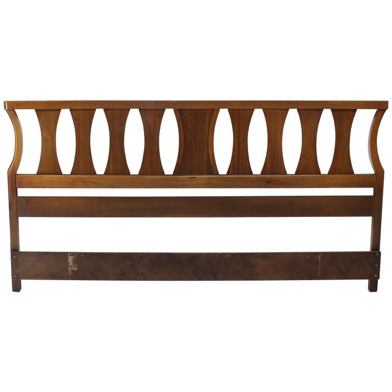 King-Size Mid-Century Modern Walnut Headboard Bed For Sale