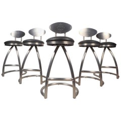 Set of Five Contemporary Modern Industrial Style Bar Stools