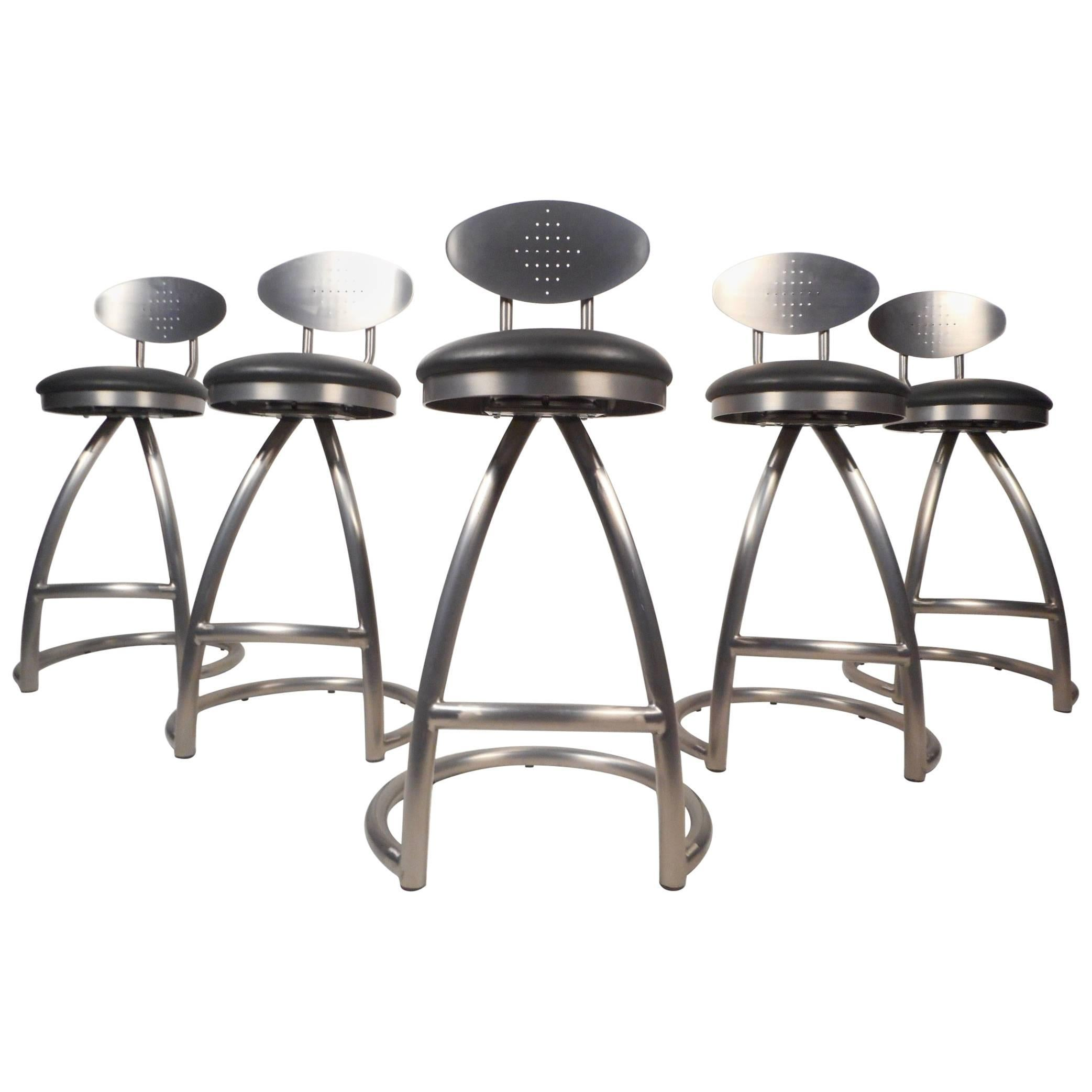Set Of Five Contemporary Modern Industrial Style Bar Stools For Sale