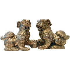 Pair Of Contemporary Antique Gold Ceramic Glaze Foo Dog Sculptures