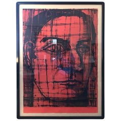 Large Red and Black Portrait Lithograph by Aaron Fink